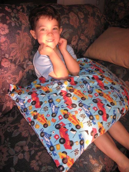 K with racecar pillowcase