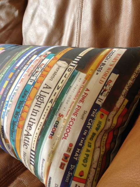 book pillow, created using spoonflower.com