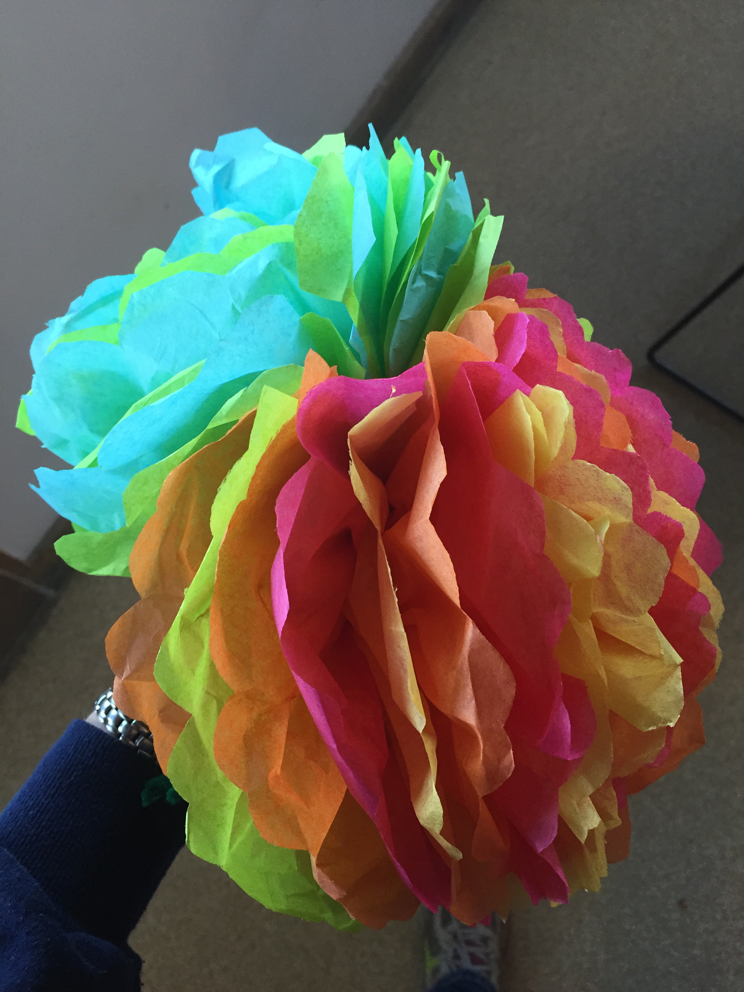 Under Construction Tissue Paper Flowers